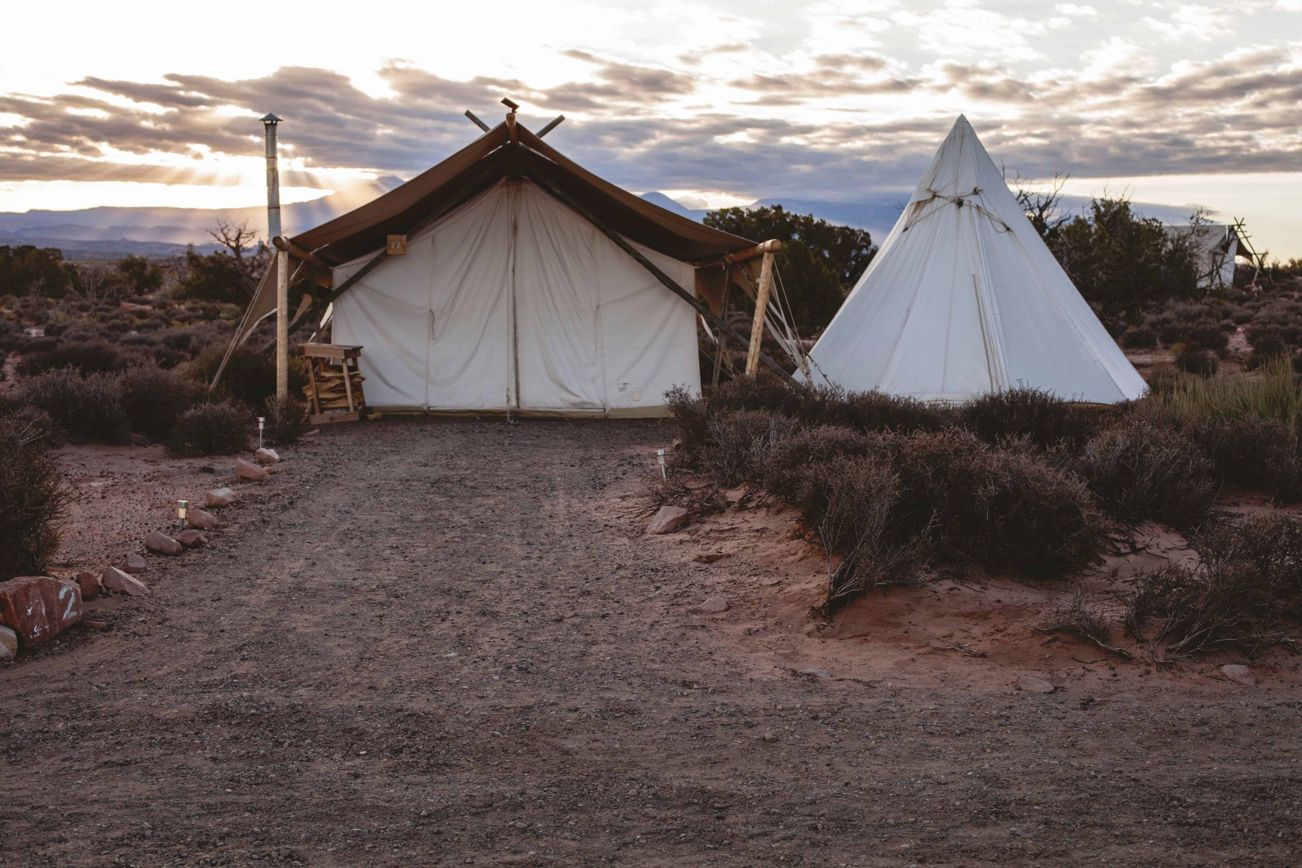 two canvas tents in the desert