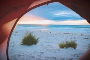 view from a beach tent