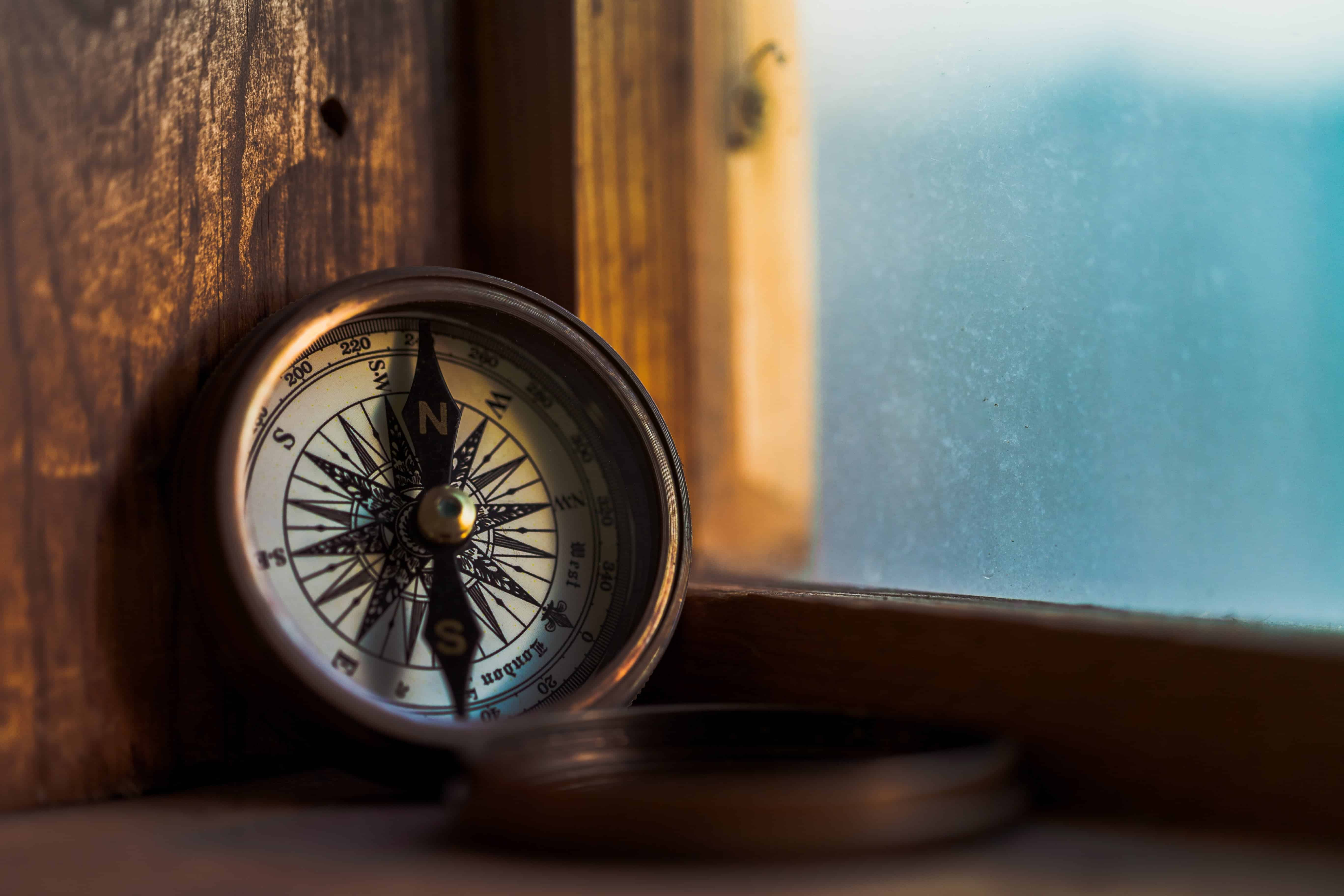 compass on a window