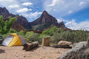 camping setup on a hill