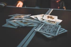 cards on a camping table