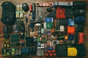 camping equipment layed out