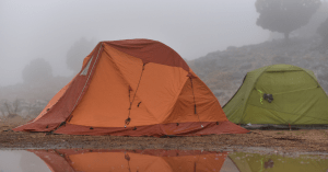 tent in a bad weather