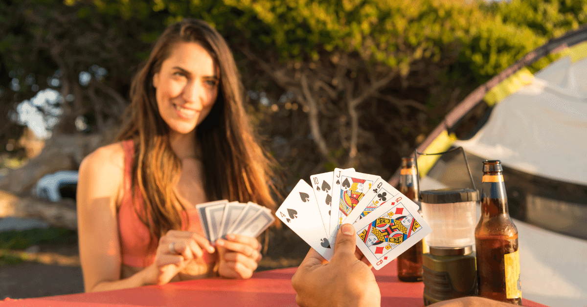 couple playing a card game