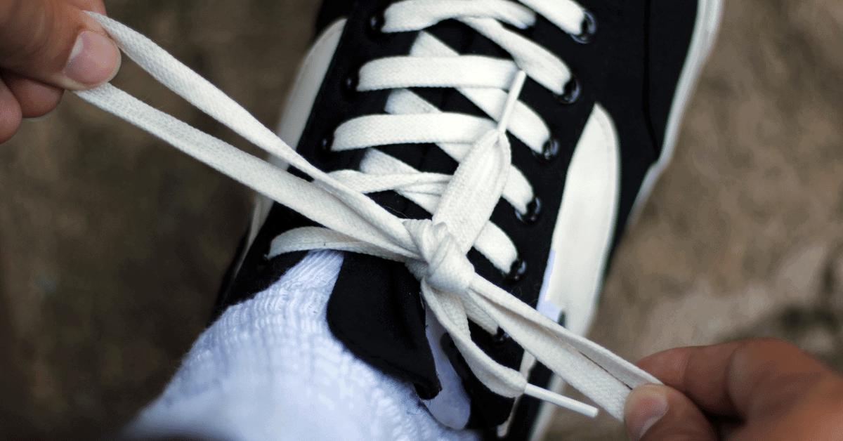 shoelace knot on sneaker