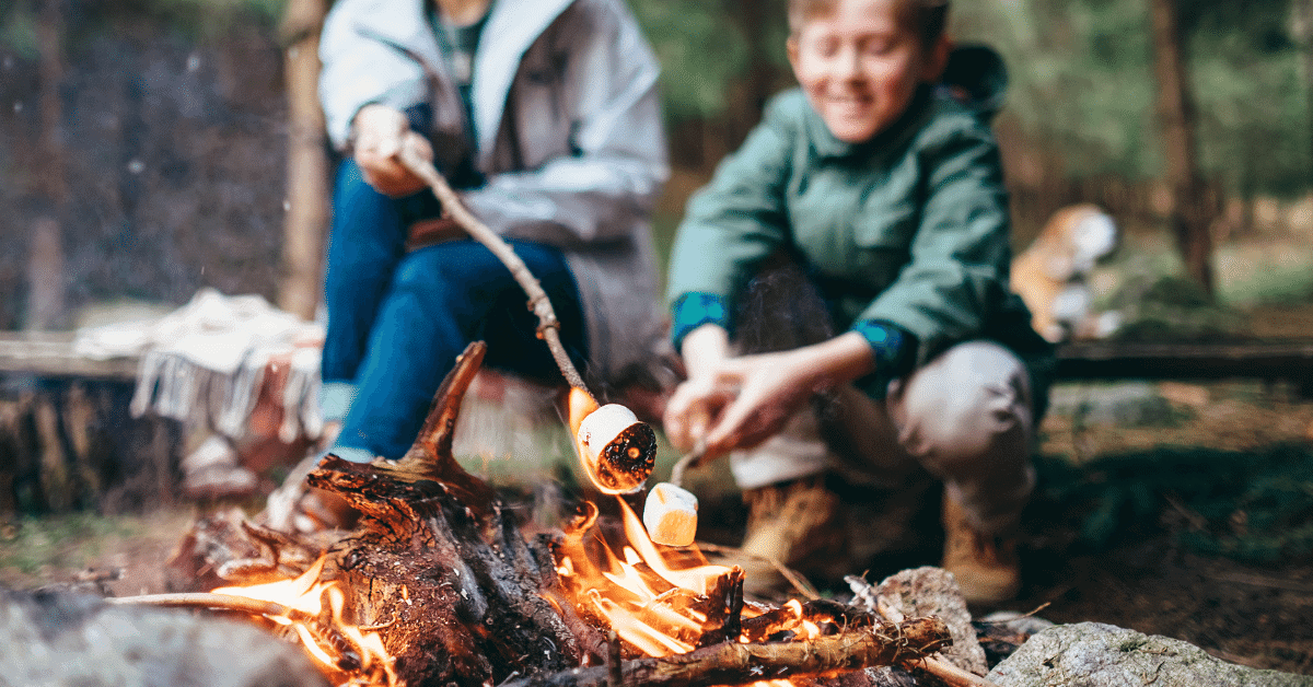 woman and boy roasting marshmallows on a campfire