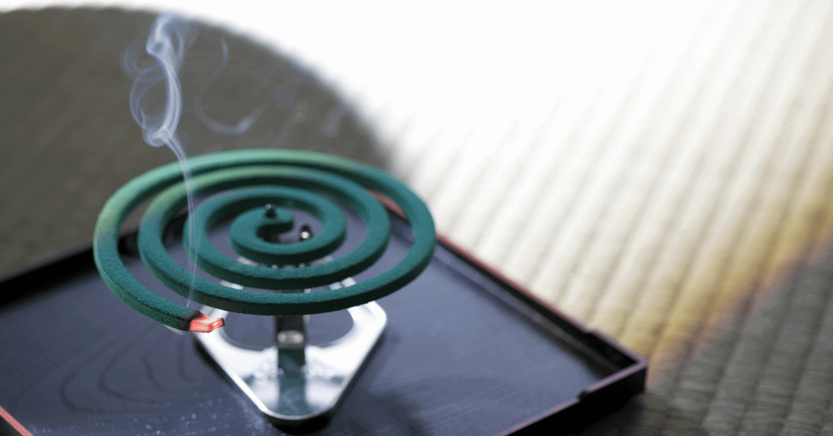 a mosquito coil burning
