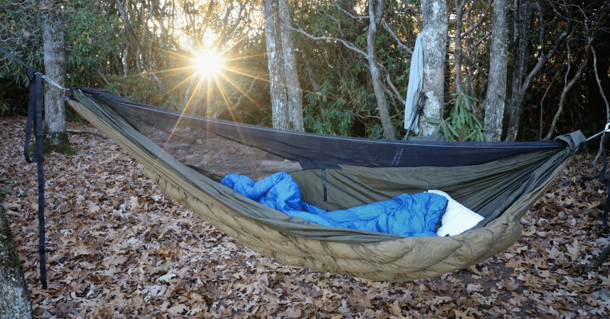 a hammock with an underquilt and sleeping bag