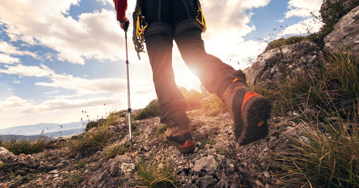 a hiker's legs and trekking poles