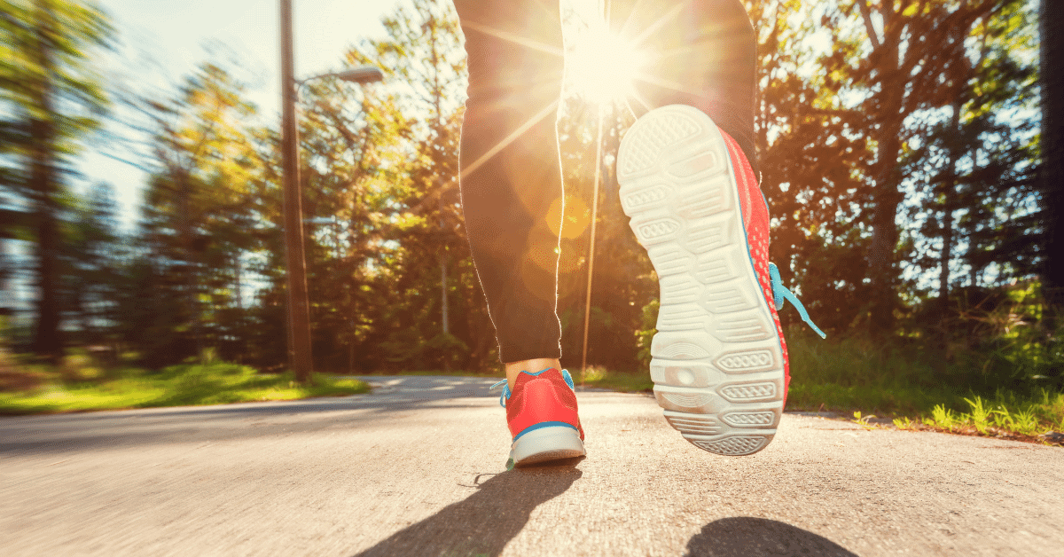 a pair of legs jogging