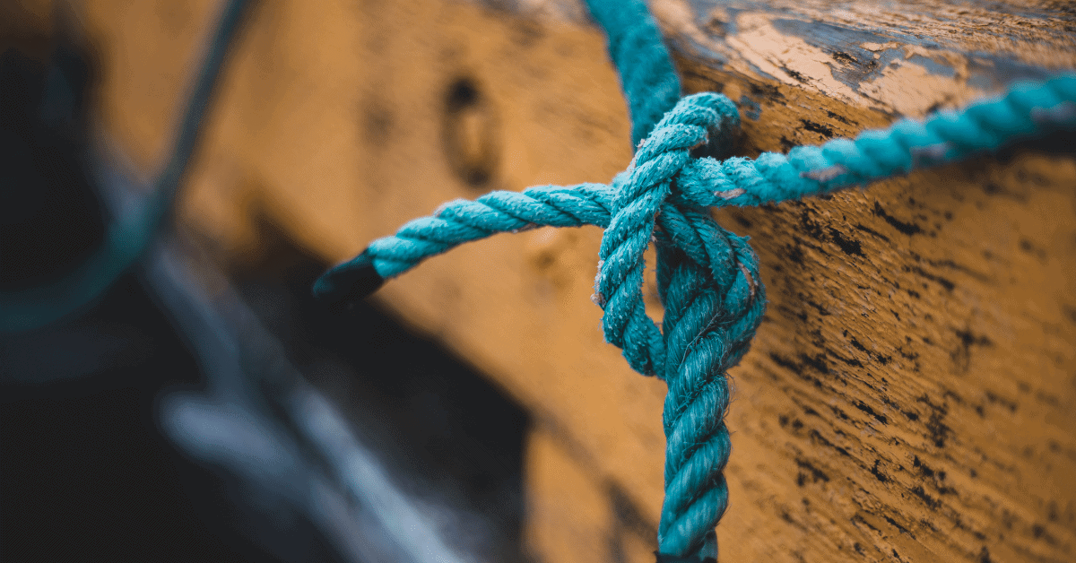 blue rope in some kind of knot