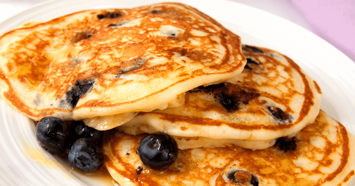 camping breakfast blueberry pancakes with syrup