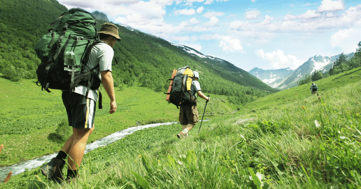 hikers walking a trail through a green hilly landscape