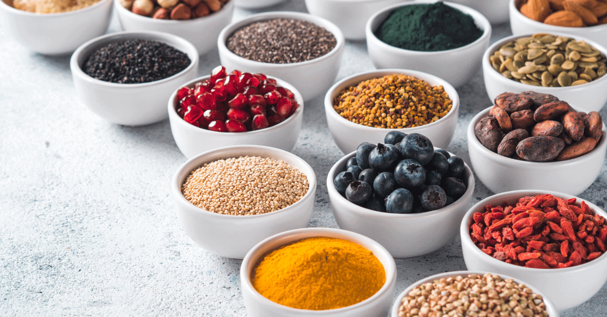 little bowls full of spices and superfoods