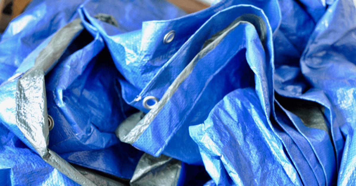 a blue tarp