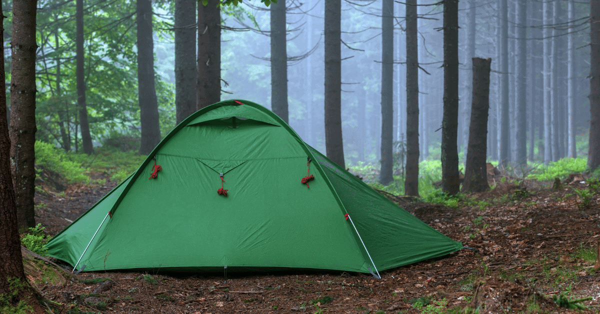 a green tent in the woods