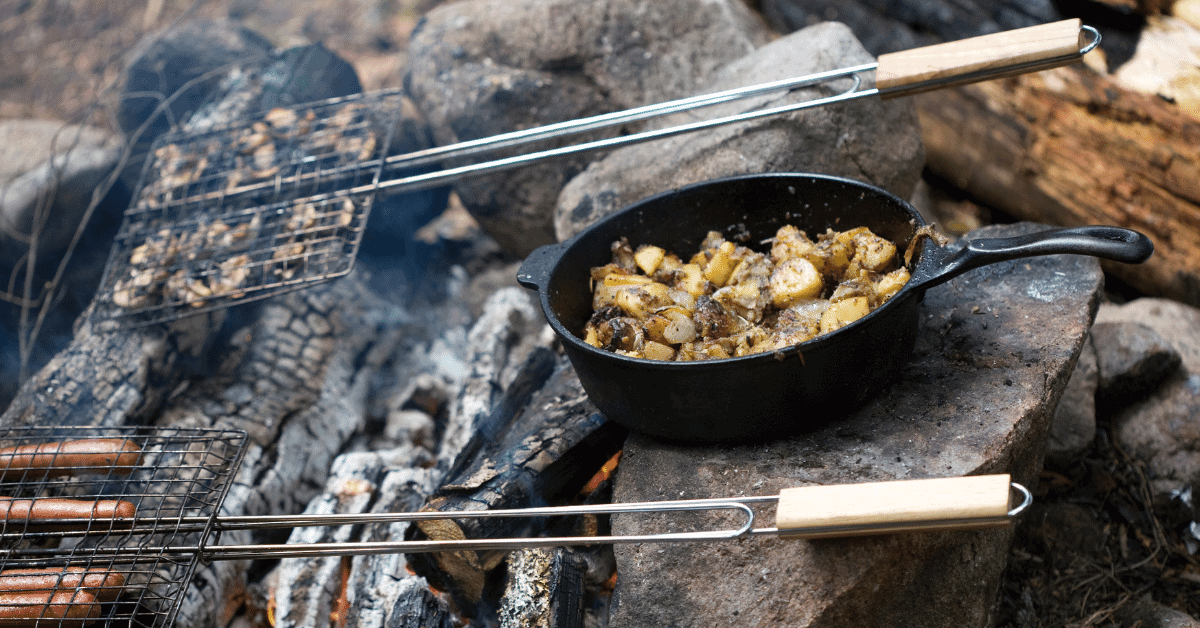 a meal cooking over a campfire
