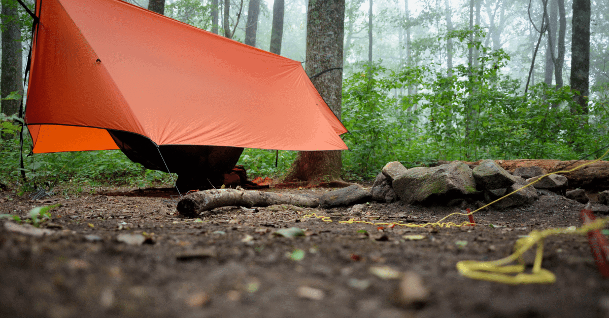 an orange tarp over a hammock in the woods