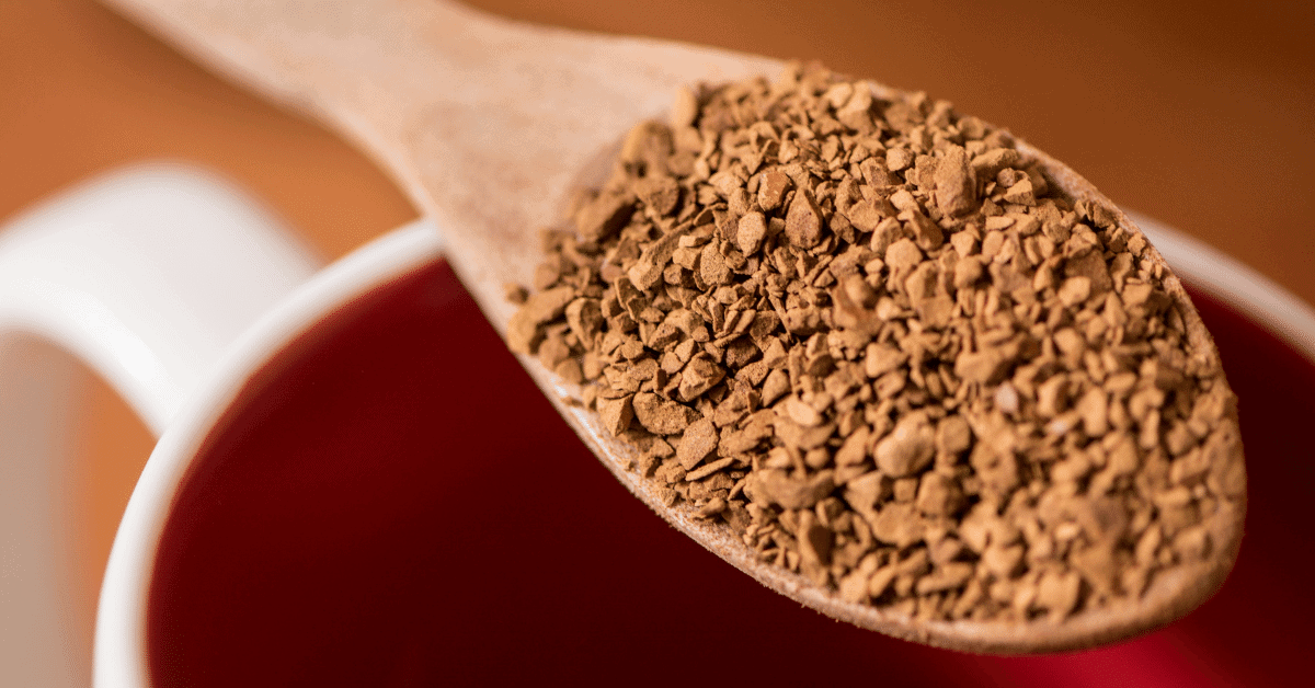 instant coffee grounds on a spoon