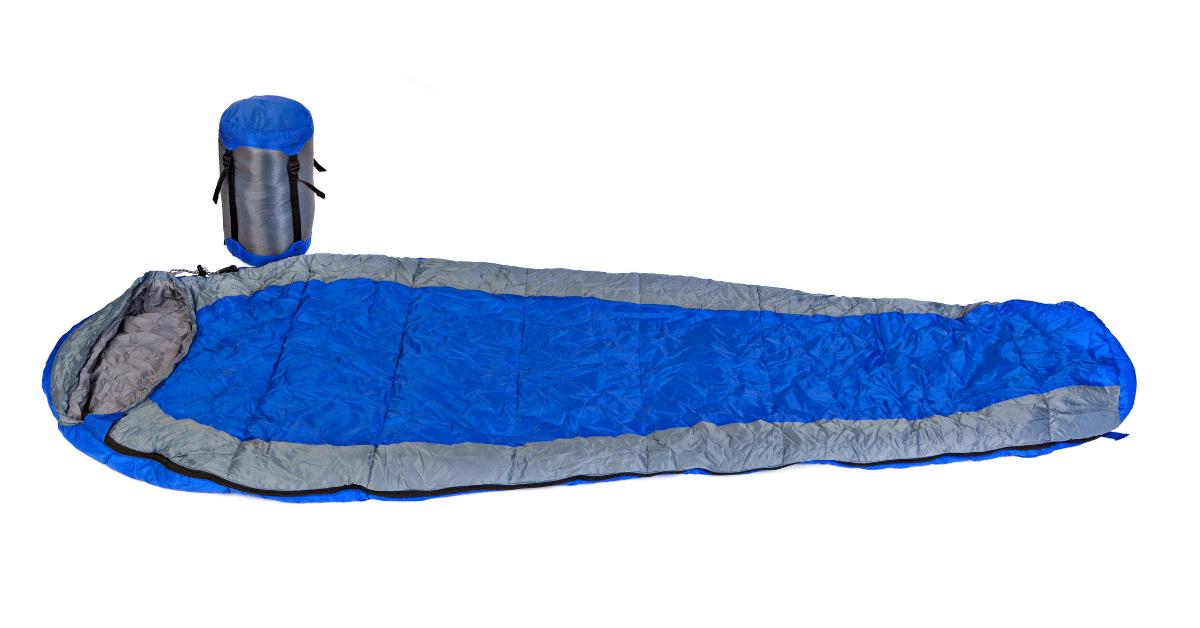 blue mummy sleeping bag and stuff sack