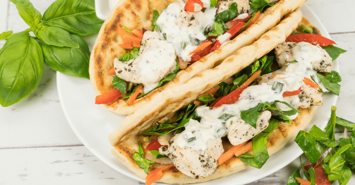 chicken souvlaki wraps with tzatziki