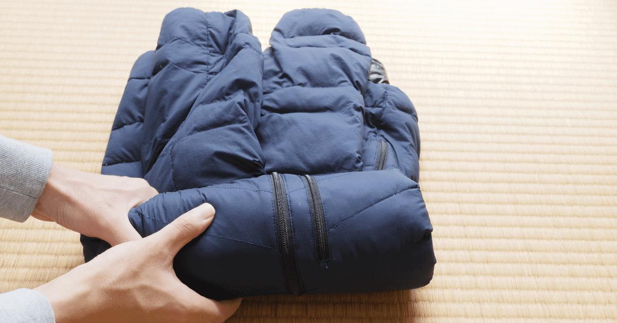 down jacket folded up