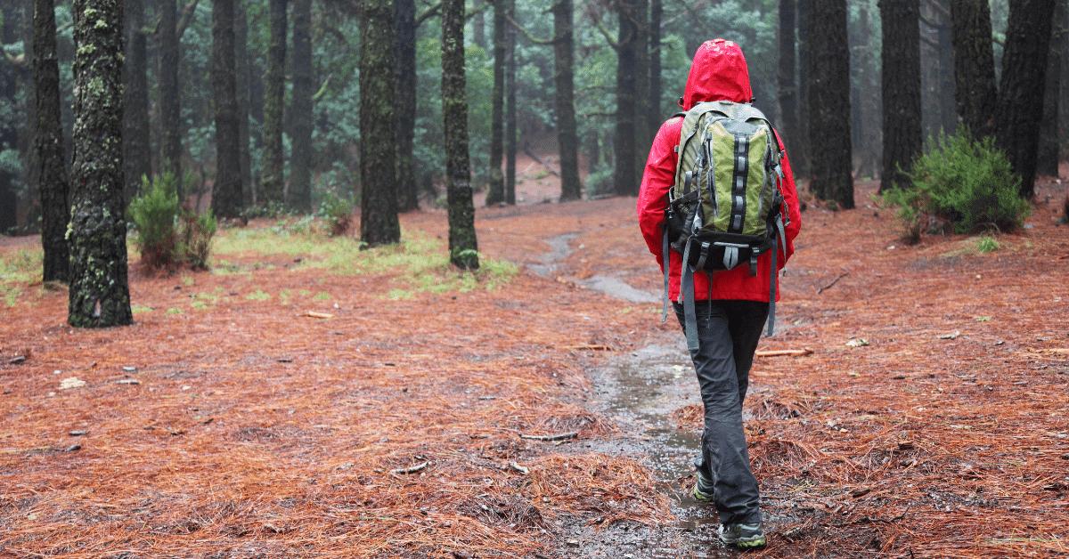 hiker wearing rain gear