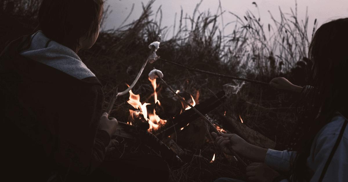 kids toasting marshmallows on the campfire