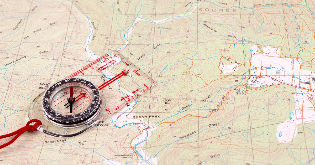 compass on a topographic map
